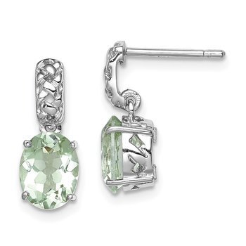 Sterling Silver Rhodium-plated Green Quartz Earrings