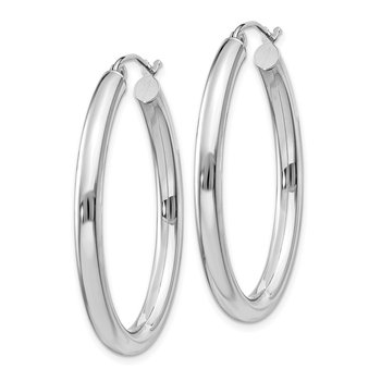 14k White Gold Polished 3.5mm Oval Tube Hoop Earrings