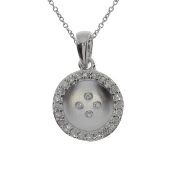 14k White Gold Satin Button Pendant