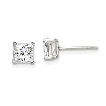 Sterling Silver 5mm Princess Basket Set CZ Stud Earrings