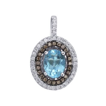 18K 0.30 Ct Diamond & Blue Topaz Pendant