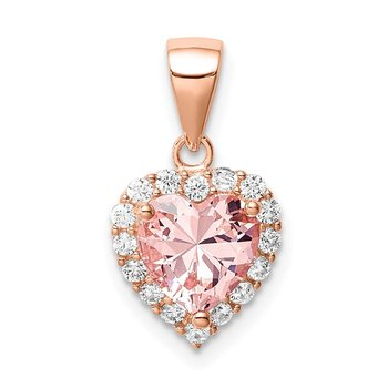 Sterling Silver Rose-plated Pink Crystal Heart and Clear CZ Pendant