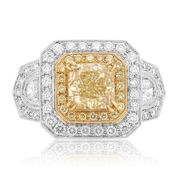 Three Carat Yellow Diamond Ring