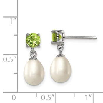 Sterling Silver RH Peridot 7-8mm FW Cultured Pearl Teardrop Earrings