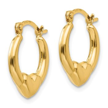 14k Madi K Hollow Heart Hoop Earrings