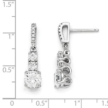 Sterling Silver Brilliant Embers Rhodium-pl CZ 3 Stone Dangle Post Earrings