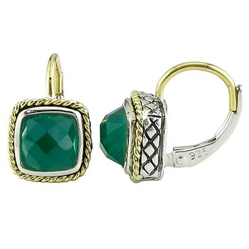 18kt and Sterling Silver Cushion Green Agate Euro Wire Earrings