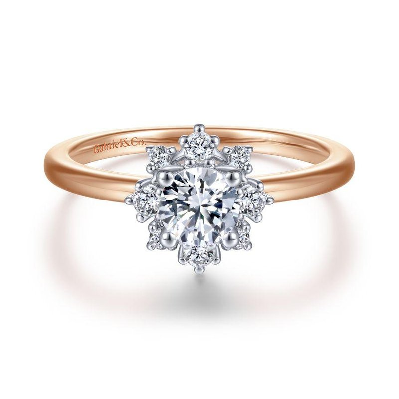 Gabriel Bridal Unique 14K White-Rose Gold Halo Engagement Ring