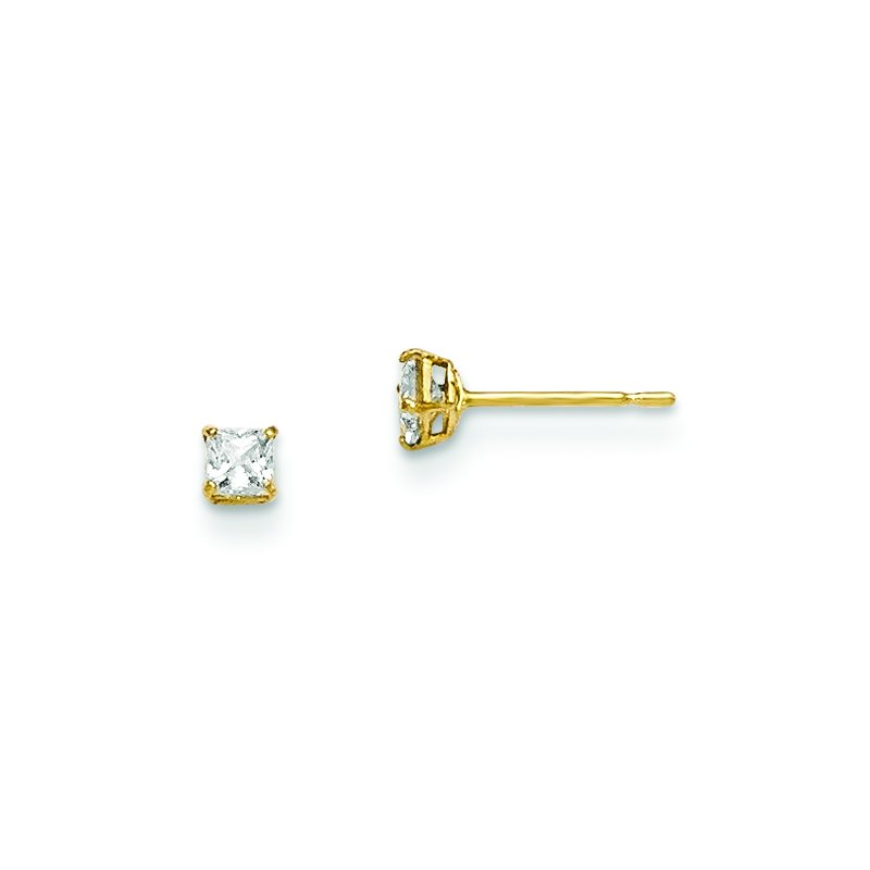 Quality Gold 14k Madi K 2.5mm Square CZ Basket Set Stud Earrings