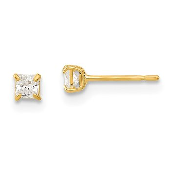 14k Madi K 2.5mm Square CZ Basket Set Stud Earrings