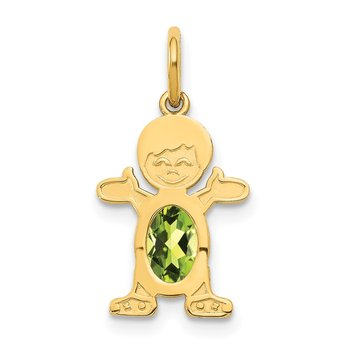 14K Boy 6x4 Oval Genuine Peridot-August