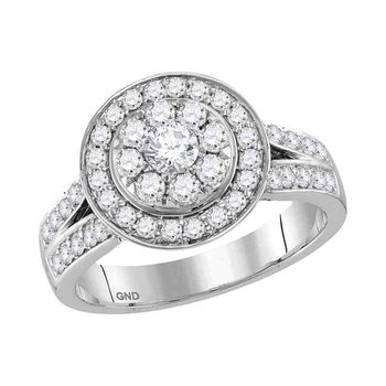 14kt White Gold Womens Round Diamond Cluster Bridal Wedding Engagement Ring 1-1/4 Cttw