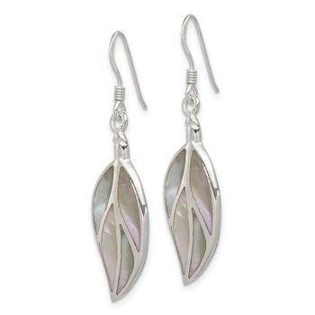 Sterling Silver Mother of Pearl Leaf Earrings