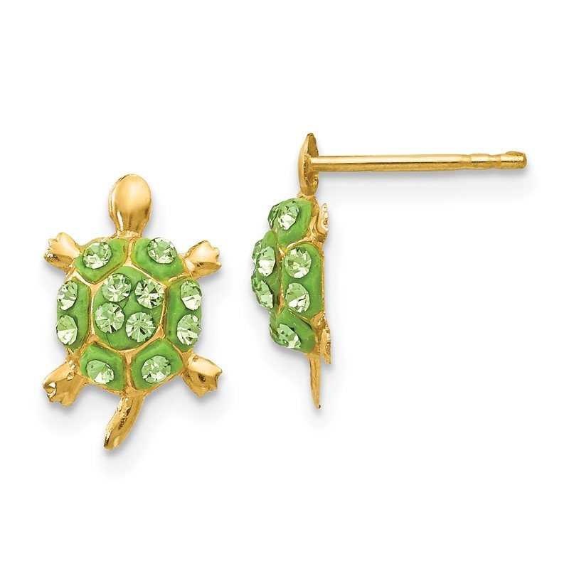 Quality Gold 14k Light Green Crystal Turtle Post Earrings