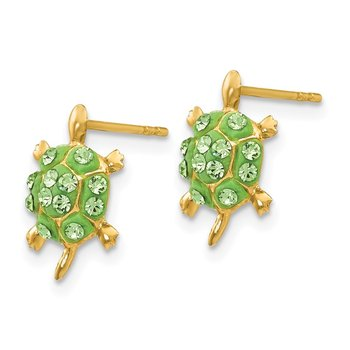 14k Light Green Crystal Turtle Post Earrings