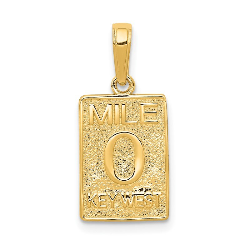 Quality Gold 14k Mile 0 KEY WEST Mile Marker Pendant