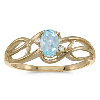 10k Yellow Gold Oval Aquamarine And Diamond Curve Ring