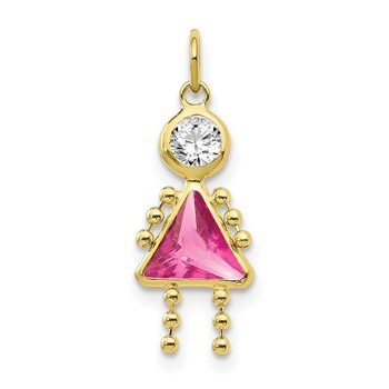 10k October Girl Birthstone Charm