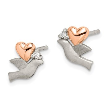 Sterling Silver CZ Rose Plated Heart Satin Dove Post Earrings