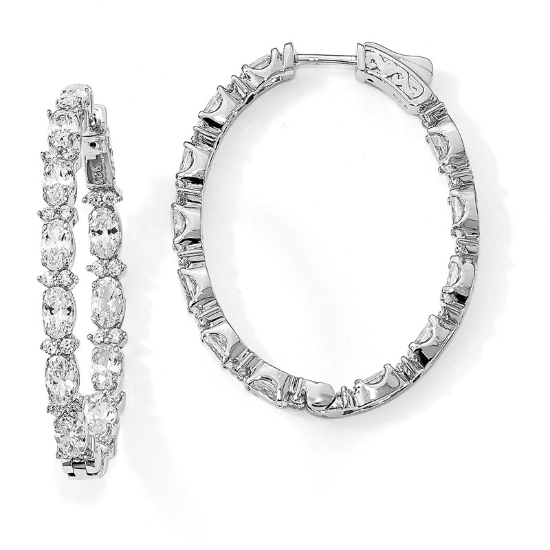 925 Sterling Silver Rhodium-plated Oval In /& Out CZ Hoop Earrings by Sterling Shimmer