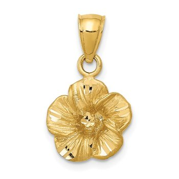 14k Satin Diamond-cut Hibiscus Pendant