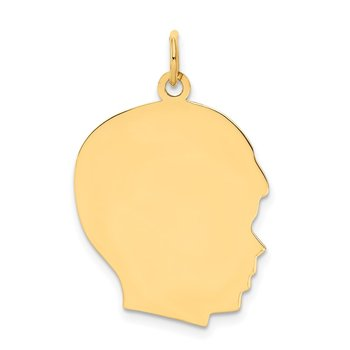 14k Plain Large .009 Gauge Facing Right Engravable Boy Head Charm