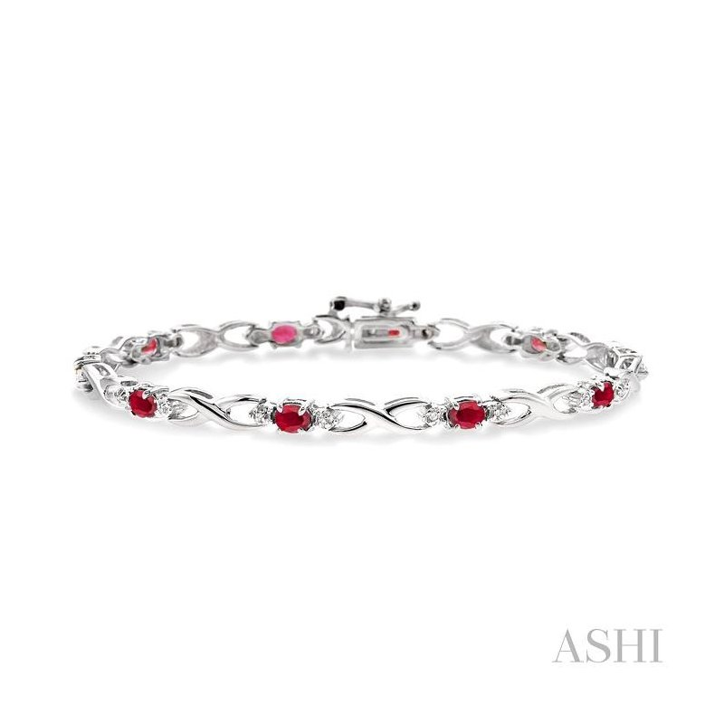 ASHI oval shape gemstone & diamond bracelet