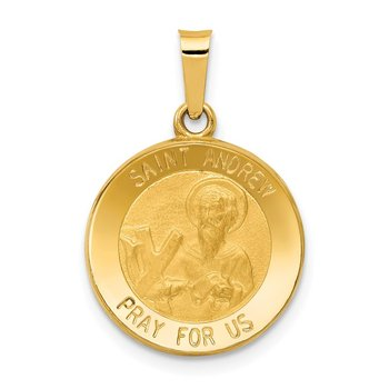 14k Polished and Satin St. Andrew Medal Hollow Pendant