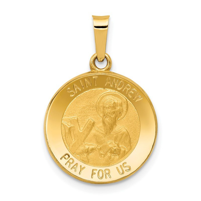 Quality Gold 14k Polished and Satin St. Andrew Medal Hollow Pendant