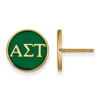 Gold-Plated Sterling Silver Alpha Sigma Tau Greek Life Earrings