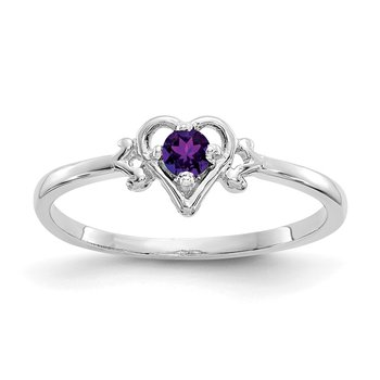 14K White Gold Amethyst Birthstone Heart Ring