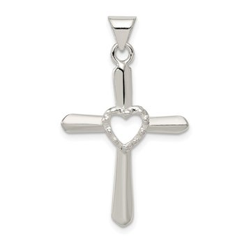 Sterling Silver Polished and Textured Cross w/ Heart Pendant