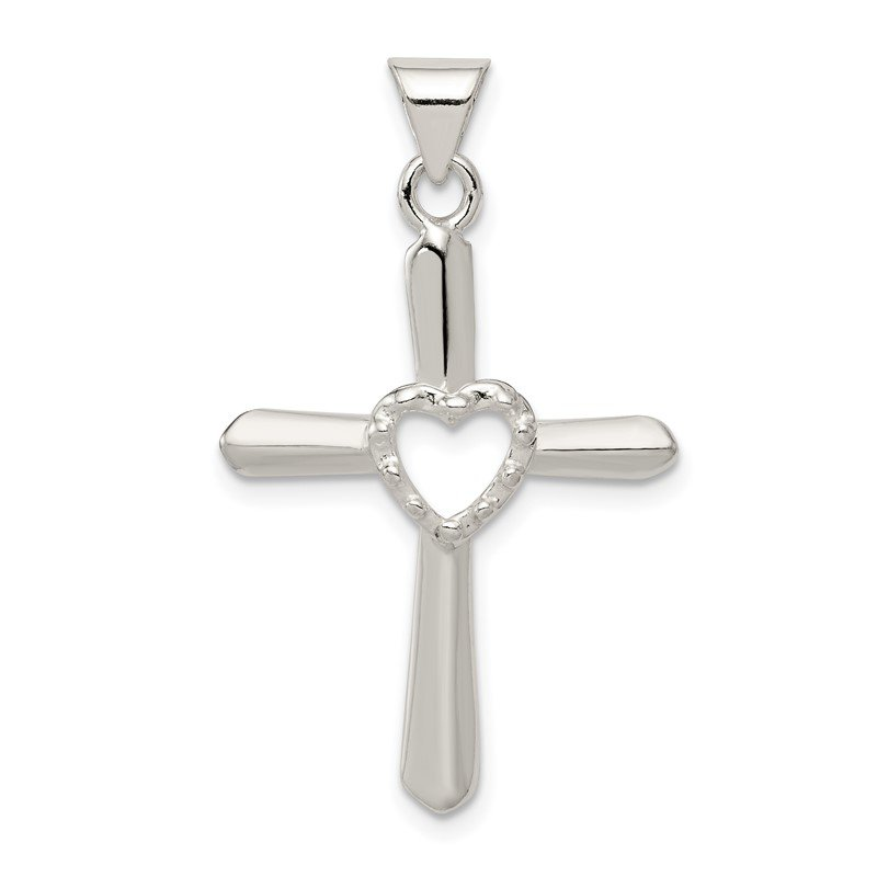 Quality Gold Sterling Silver Polished and Textured Cross w/ Heart Pendant