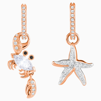 Ocean Crab Pierced Earrings, White, Rose-gold tone plated