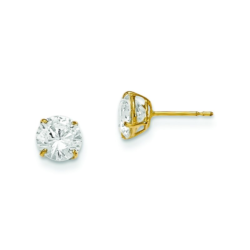 Quality Gold 14k Madi K 6mm Round CZ Basket Set Stud Earrings