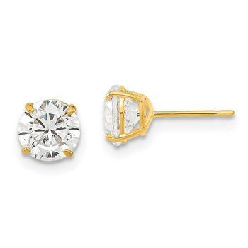 14k Madi K 6mm Round CZ Basket Set Stud Earrings