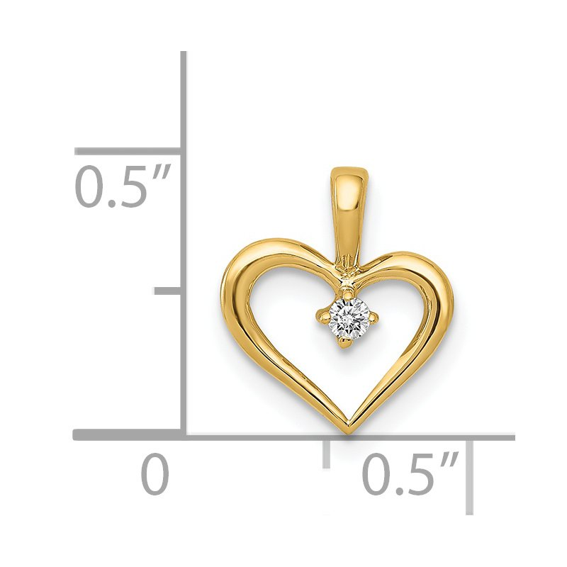 Quality Gold 14k Rose Gold AA .02ct. Diamond Heart Pendant