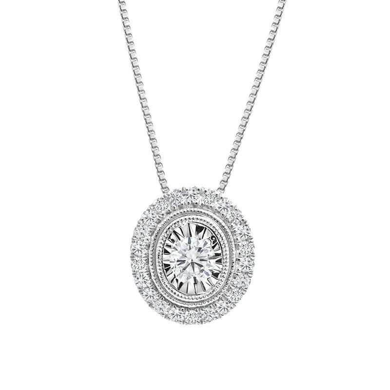 Canadian Rocks Oval Design Diamond Accent Pendant