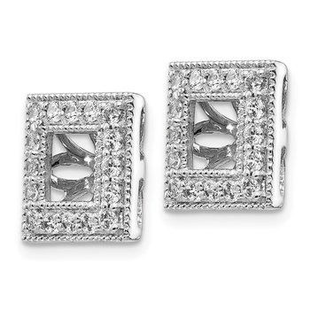 14k White Gold Diamond Square Jacket Earrings