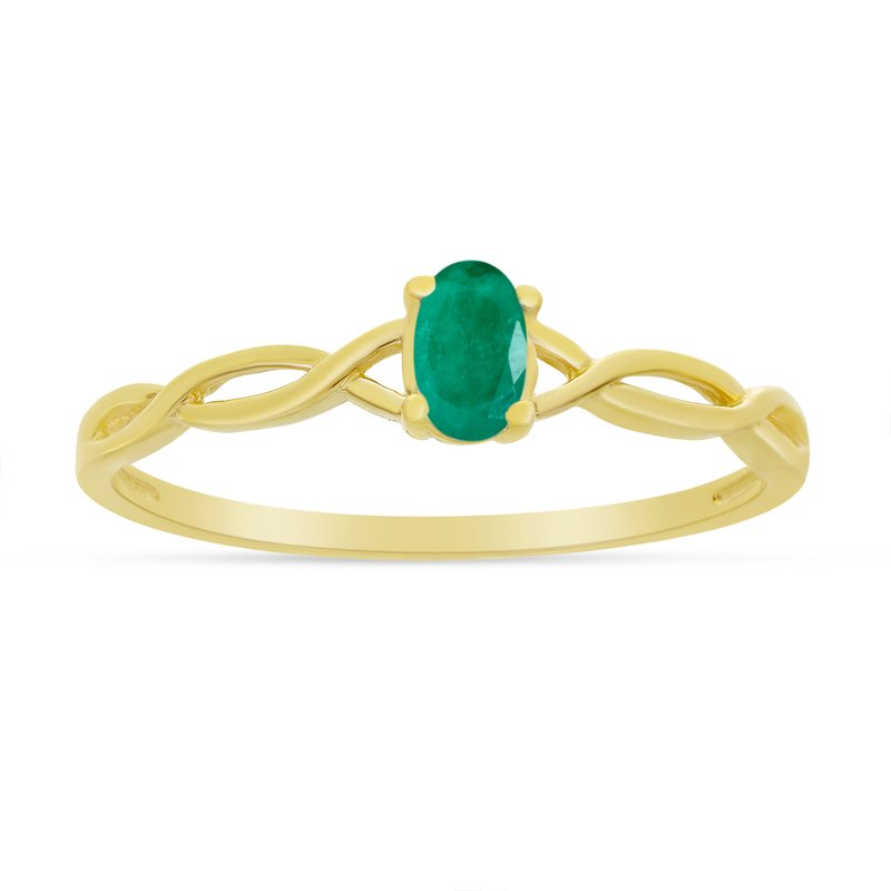 Color Merchants 10k Yellow Gold Oval Emerald Ring