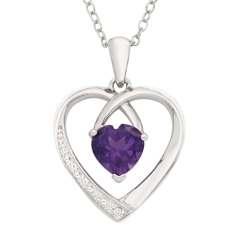 Moodys jewelry moodys signature sterling silver amethyst and moodys signature sterling silver amethyst and diamond accent heart pendant aloadofball Image collections
