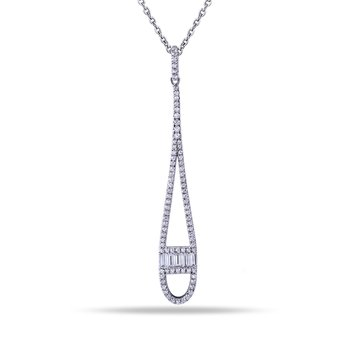 "14K Long Tear Drop Pendant with 5 Baguette Diamonds 0.20C T.W. & 82 Round Diamonds 0.40C T.W. 18"" CHAIN"