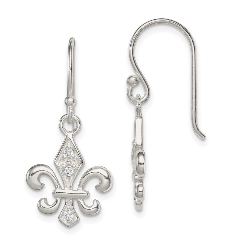 Quality Gold Sterling Silver White CZ Accented Fleur de Lis Dangle Earrings