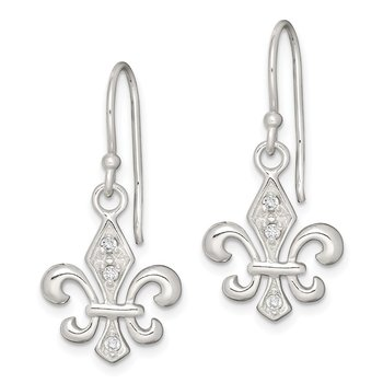 Sterling Silver White CZ Accented Fleur de Lis Dangle Earrings