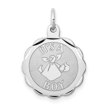 Sterling Silver Rhodium-plated Its a Boy Charm
