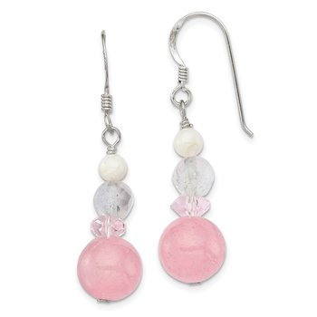 Sterling Silver Pink Crystal/Jade/Mother of Pearl Dangle Earrings