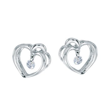 10k White Gold .16 ct Dashing Diamonds Heart Earrings
