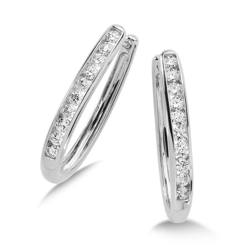 SDC Creations Channel set Diamond Oval Hoops in 14k White Gold (1 ct. tw.) GH/SI1-SI2