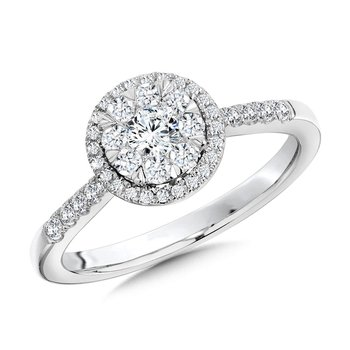 Round Cluster Diamond Halo Engagement Ring