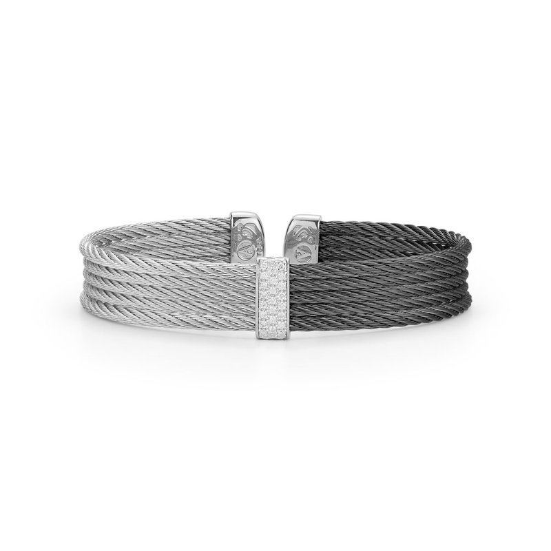 ALOR Black & Grey Cable Medium Colorblock Cuff with 18kt White Gold & Diamonds